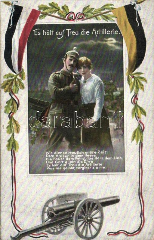'Es halt auf Treu die Artillerie', German artillery soldier with a lady, flags of Germany and Austria, cannon