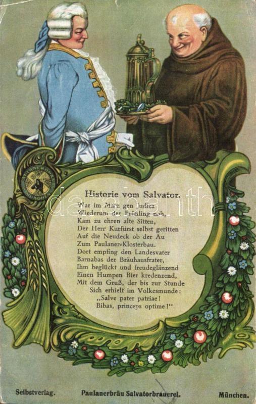 Paulanerbräu Salvatorbrauerei / Paulaner Brewery, Salvator beer, monk advertisement Art Nouveau, Paulaneri sörgyár, Salvator sör reklám, szerzetes Art Nouveau