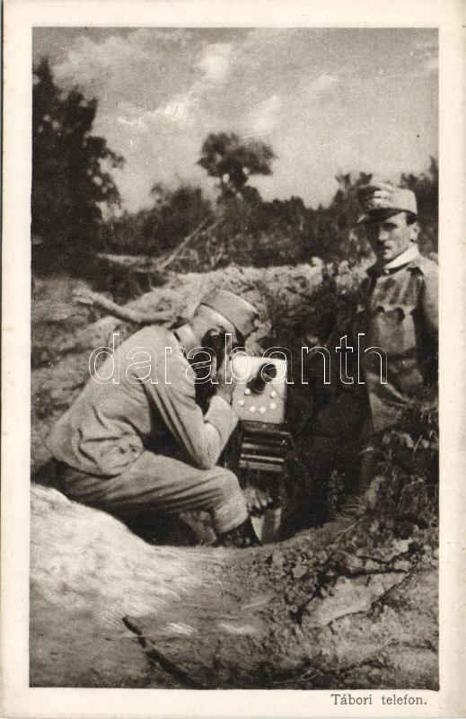 Field telephone, officers of the Austro-Hungarian Army, WWI, Tábori telefon; a K.u.K. hadsereg tisztjei, I. világháború, az Érdekes Újság kiadása