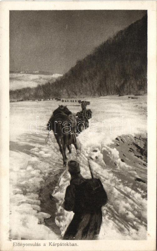 Advancing in the Carpathian Mountains, soldiers of the Austro-Hungarian Army, WWI, Előrenyomulás a Kárpátokban, a K.u.K. hadsereg katonái, I. világháború, az Érdekes Újság kiadása