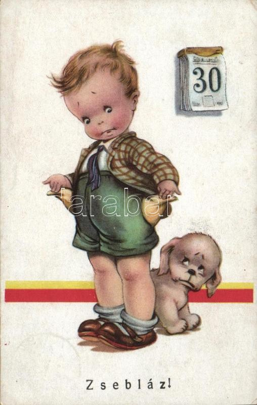 Running out of money, child, humour, Zsebláz, gyerek, pénz humor