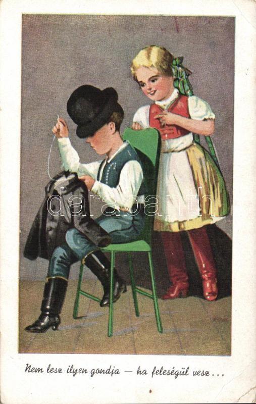 Hungarian folklore, children couple, sewing, Magyar folklór, gyerek pár, varrás