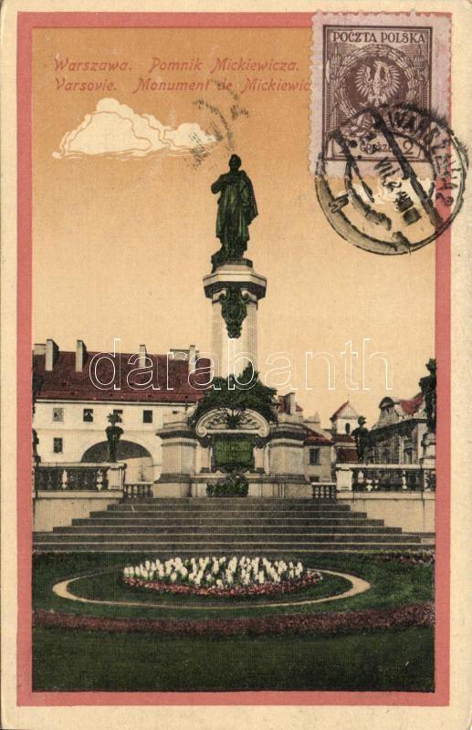 Warsawa, Warsaw; Pomnik Mickiewicza / Mickiewicz monument, TCV card