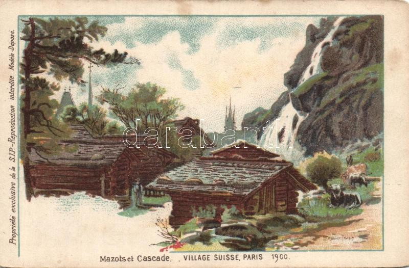 Paris, 1900 Exposition, Mazots et Cascade, Village Suisse / Exhibition, swiss village litho s: L. Trinquier Trianon