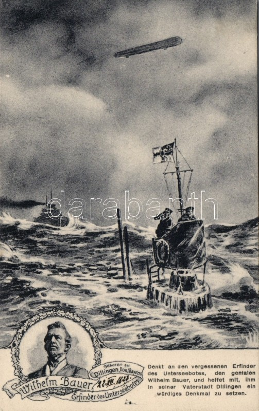Wilhelm Bauer, submarine, Zeppelin, Wilhelm Bauer, tengeralattjáró, Zeppelin
