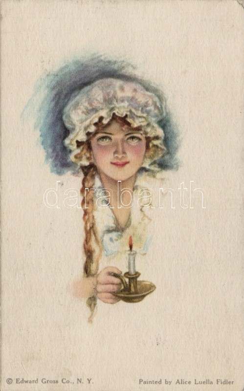 Girl with candle 'American Girl No. 43.' pinx. Alice Luella Fidler, Lány gyertyával 'American Girl No. 43.' pinx. Alice Luella Fidler