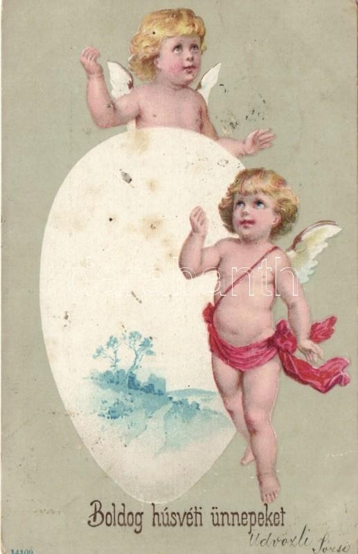 Easter, angels litho, Húsvét, angyal litho