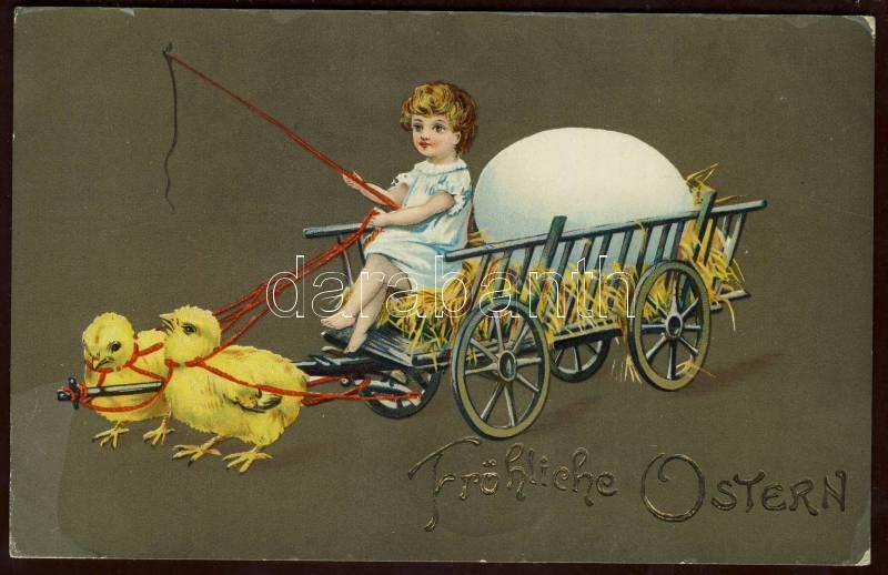 Húsvét, szekér, csirkék litho, Easter, carriage, chickens litho
