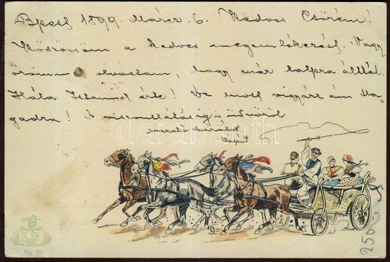 1899 Hungarian folklore, carriage Emb., 1899 Magyar folklór, Négyesfogat lovaskocsi Emb.