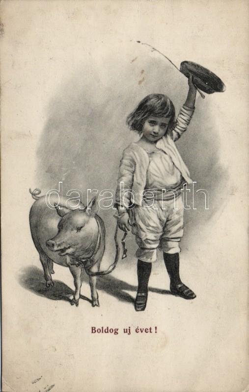 New Year, boy with pig, Újév, kisfiú disznóval