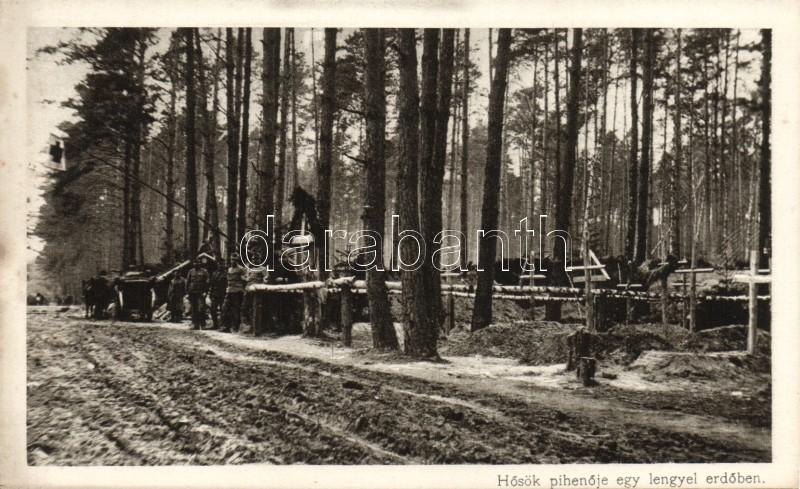 Solders' camp in a Polish forest, Katonai pihenőhely egy lengyel erdőben 'Érdekes Újság'