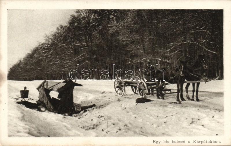 WWI Hungarian military card, Egy kis baleset a Kárpátokban 'Érdekes Újság'