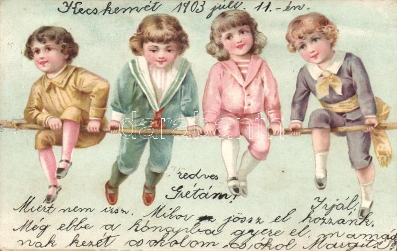 Children, little boys on pole litho, Gyerek, Kisfiúk rúdon litho