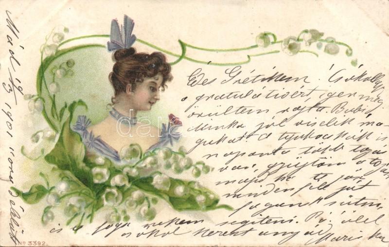 Lady with Lily of the Valley litho, Hölgy gyöngyvirágokkal litho