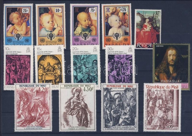 1970/1980 Dürer paintings 5 diff. countries, 14 diff. stamps, 1970/1980 Dürer festmények 5 klf ország, 14 klf bélyeg, 1970/1980 Dürer-Gemälde 5 verschiedene Länder, 14 verschiedene Marken