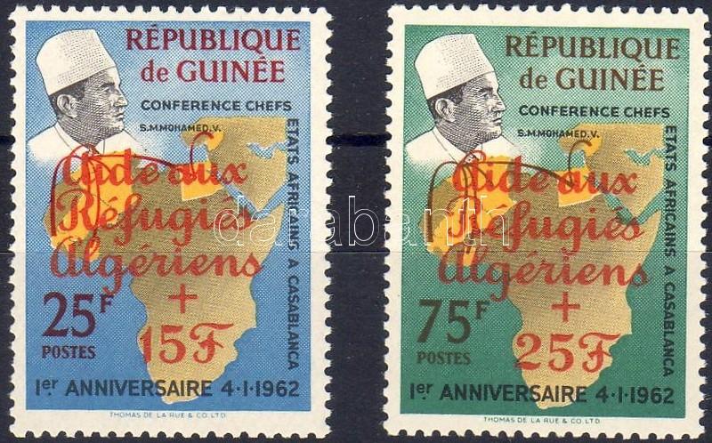 Refugees from Algerien overprinted set (orange), Algériai menekültek sor narancssárga felülnyomással, Algerische Flüchtlinge Satz mit orangem Aufdruck