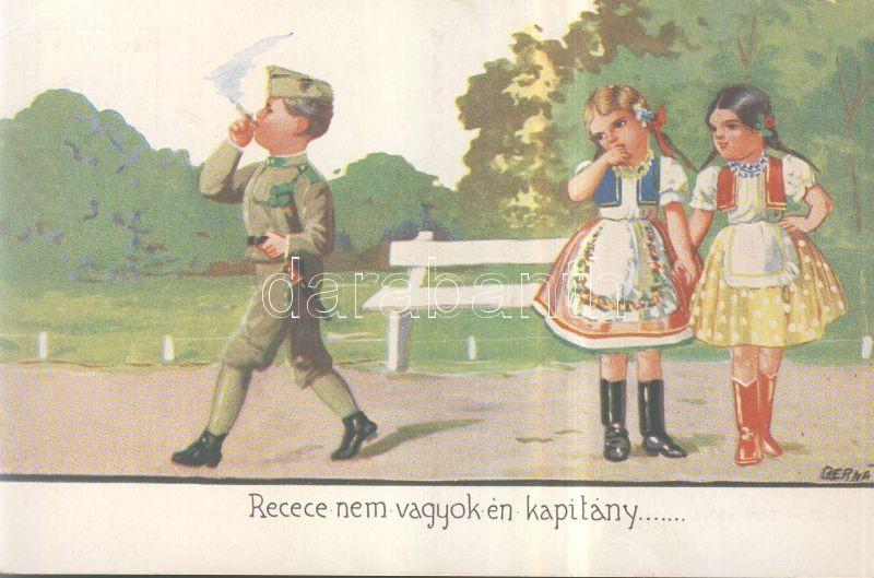 Hungarian folklore, military humorous card, children s: Bernáth, Magyar folklór, katonai humoros lap, gyerekek s: Bernáth