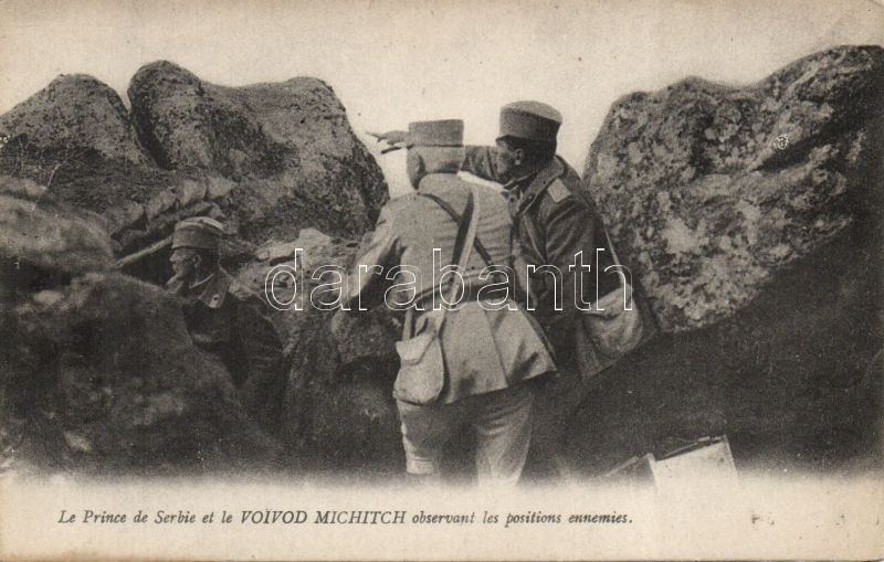 Peter I of Serbia and Zivojin Misic observing the enemy's position