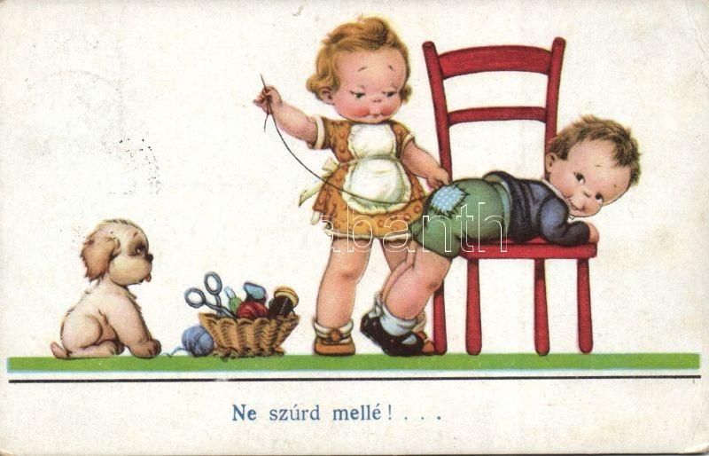 Sewing girl, children, humour, Varró kislány, humor, gyerekek
