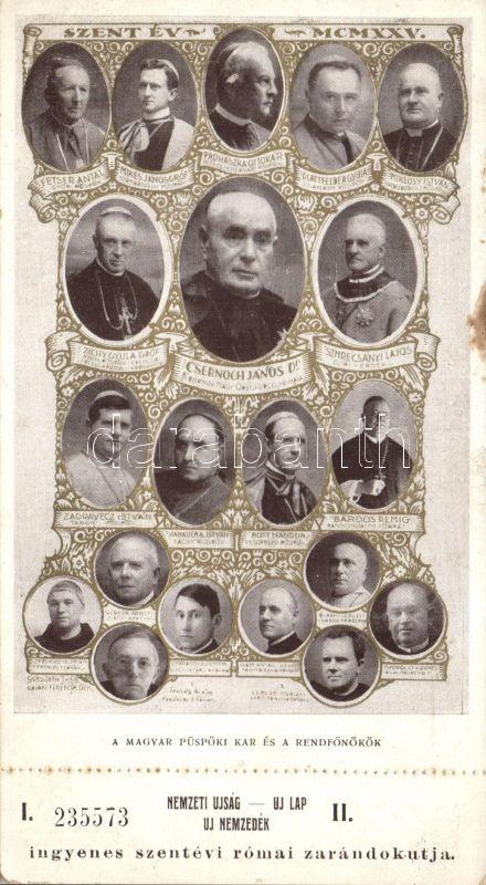 1925 Holy Year, Hungarian Bench of Bishops and chiefs, with lottery ticket, 1925 Szentév, Magyar püspöki kar és rendfőnökök, sorsjeggyel