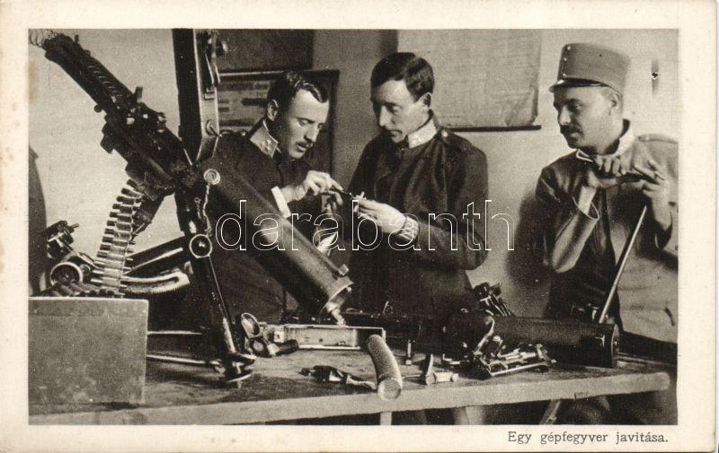 The repairing of a machine gun, Hungarian 'Interesting Newspaper', Egy gépfegyver javítása. Az Érdekes Újság 3000 kor. pályázatának legszebb képei