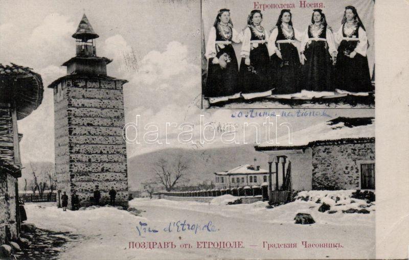 Etropole, City clock tower, folklore