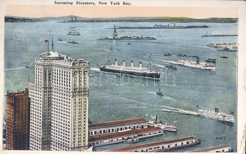 New York Bay, Incoming steamships