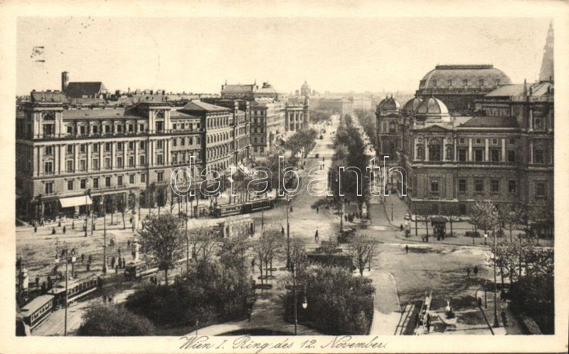 Vienna, Wien I. November 12 Platz / square, tram