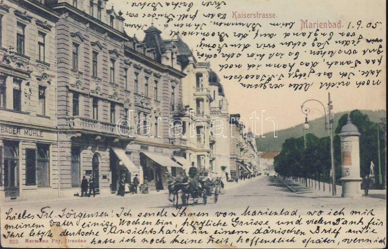 Marianske Lazne, Marienbad; Kaiserstrasse, Bader Mühle / street, shop