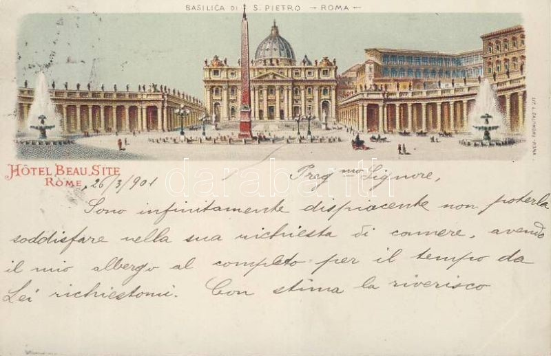 Rome, Roma; St Peter Cathedral litho