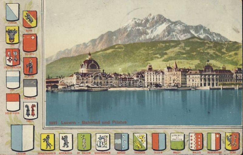 Lucerne, Luzern; Bahnhof, Pilatus / railway station, mountain, coat of arms