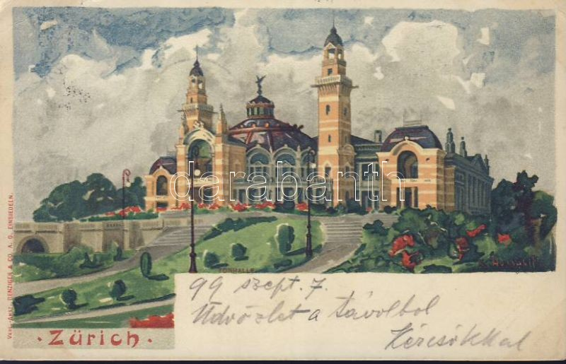 1899 Zürich, Tonhalle / concert hall litho s: K. Aussault