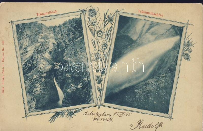 Trümmelbach, Trümmelbachfälle / waterfall, Art Nouveau