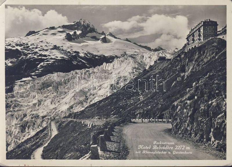 Rhonegletscher, Gerstenhorn, Furkastrasse, Hotel Belvedere / Rhone Glacier, mountain peak, road, hotel