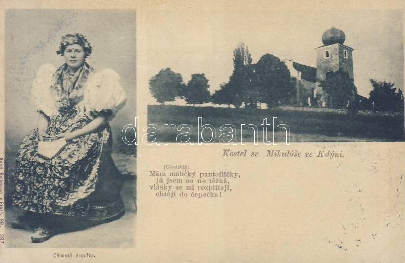 1899 Kdyne, Kostel sv. Mikulase, chodska drouzka / church, folklore
