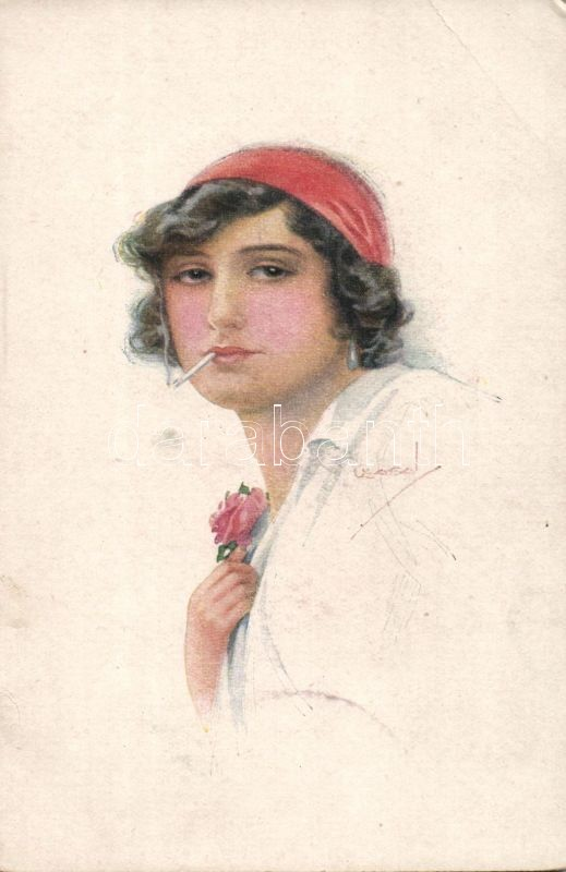 Italian art postcard, lady with cigarette 'Erkal No. 303/6' s: Usabal, Olasz művészlap, dohányzó nő 'Erkal No. 303/6' s: Usabal