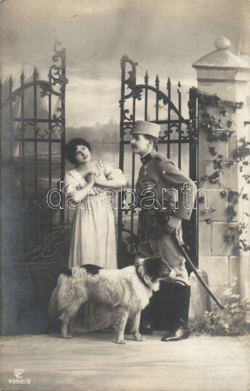 Tomantic card, Soldier with lady and dog, Romantikus lap, Katona hölggyel és kutyával
