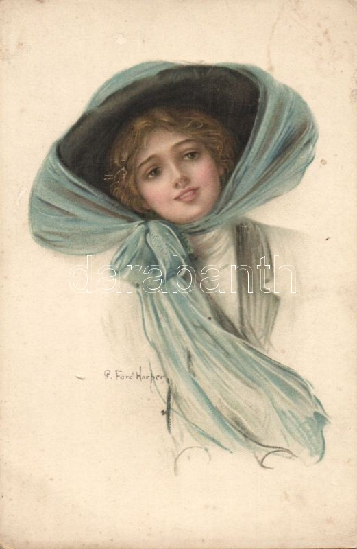 Lady with hat litho s: Ford Harper, Hölgy kalapban litho s: Ford Harper
