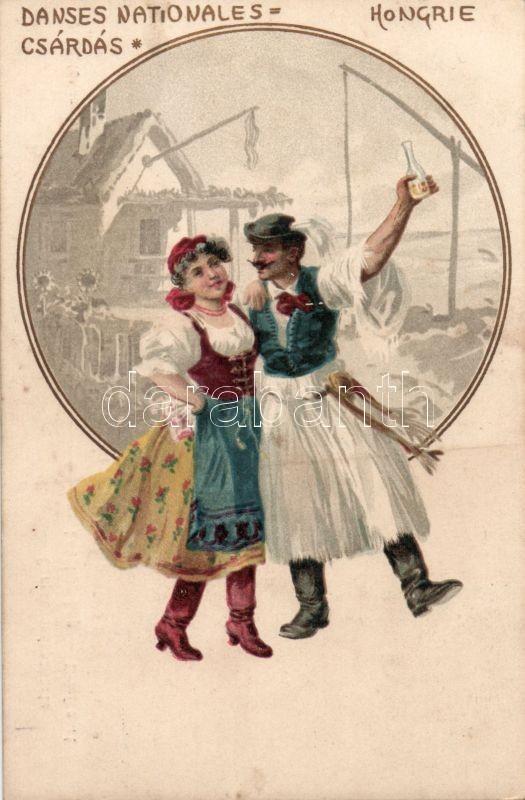 Magyar folklór, Csárdás néptánc litho, Hungarian folklore, Csárdás folkdance litho