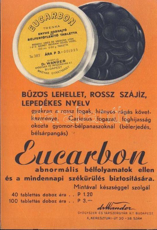 Eucarbon medicine advertisement, Eucarbon gyógyszer reklám
