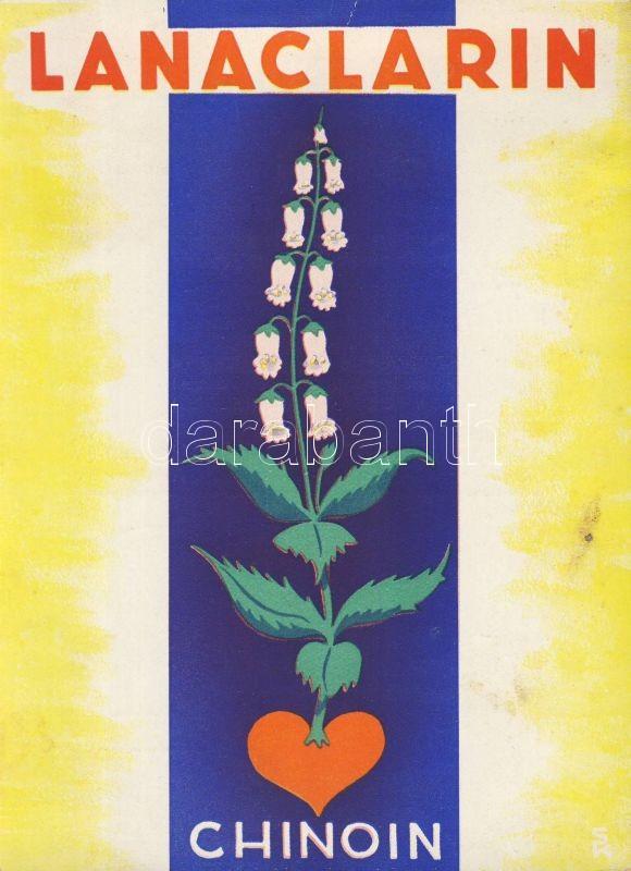 Lanaclarin 'Chinoin' medicine advertisement, big size (12 cm x 16,6 cm) (non PC), Lanaclarin 'Chinoin' gyógyszer reklám, nagy méretű (12 cm x 16,6 cm) (non PC)
