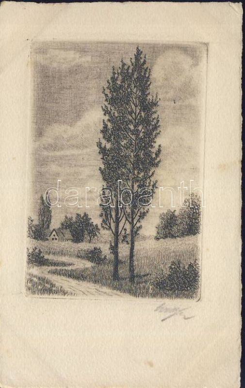 Trees, etching, artist signed