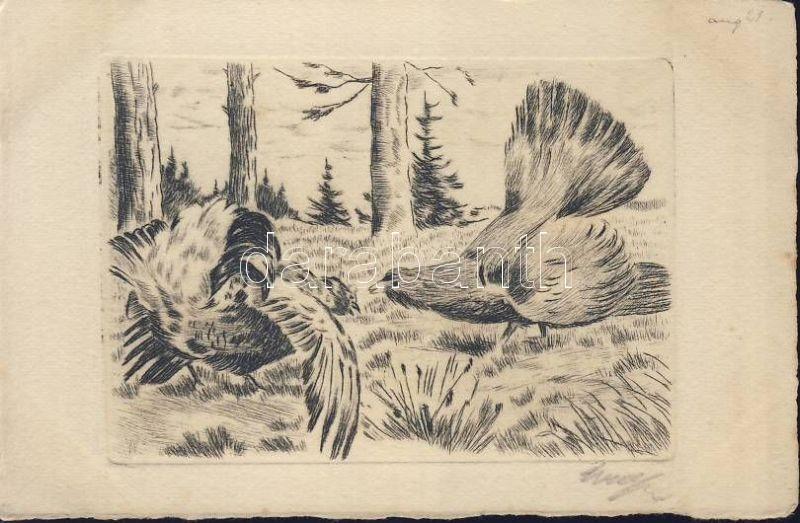 Birds, etching, artist signed