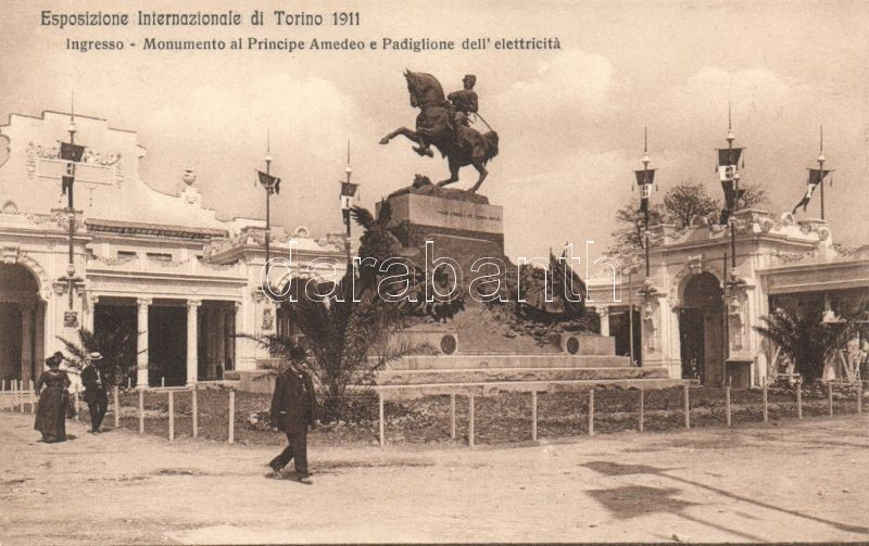Torino, Turin; Esposizione Internazionale di Torino 1911, Ingresso, Monumento al Principe Amedeo e Padiglione dell'elettricitá / 1911 International Exhibition entrance with Monument to Prince Amedeo and the Pavilion of Electricity