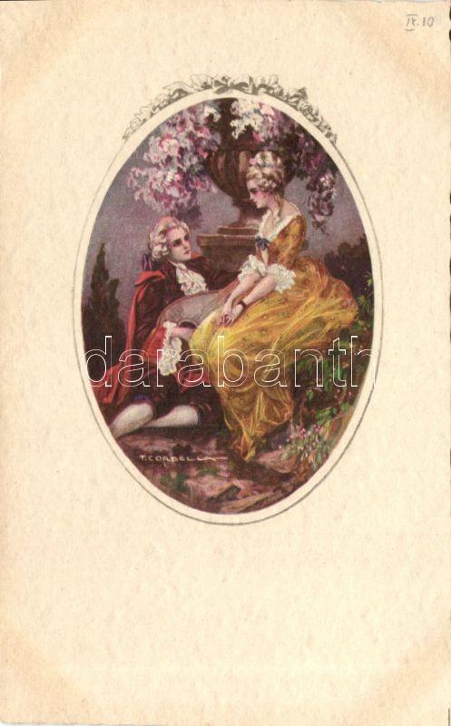 Italian art postcard, Baroque couple s: T. Corbella, Baroque couple s: T. Corbella