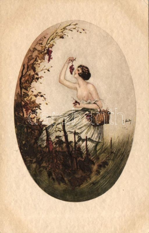 Half nude lady s: F. Hardy, Félmeztelen hölgy s: F. Hardy