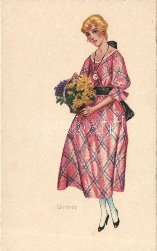 Lady with flowers 'Van Dyck' s: Grímm, Hölgy virággal 'Van Dyck' s: Grímm