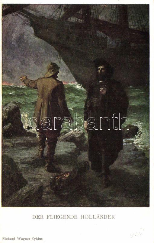 Richard Wagner's The Flying Dutchman, opera, illustration, M. MUnk Nr. 934., Richard Wagner A Bolgyóhollandi c. operája, illusztráció, M. MUnk Nr. 934.