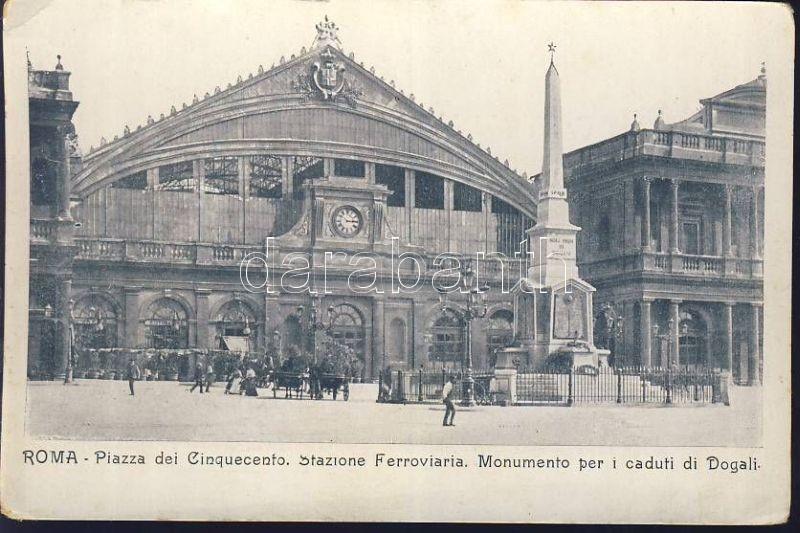 Rome, Roma; piazza dei Cinquecento, Stazione Ferroviaria, Monumento per i caduti di Dogali / square, railway station, military monument