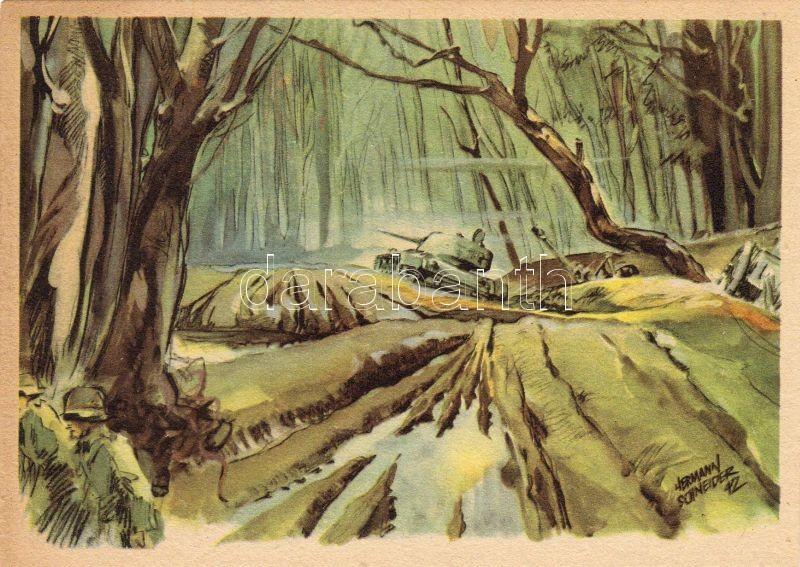 'Aus dem Wald von Kolodesy' / 'From the forest of Kolodesy' tank, soldiers s: Hermann Schneider, Katonák, tank, erdő